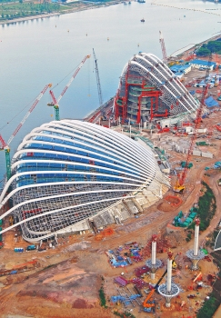 Gardens by the Bay during construction