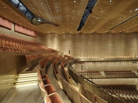 Akustische Neutralität und exklusive Optik waren bei dem Konzertsaal in Antwerpen ausschlaggebend für die Wahl der Gewebe.