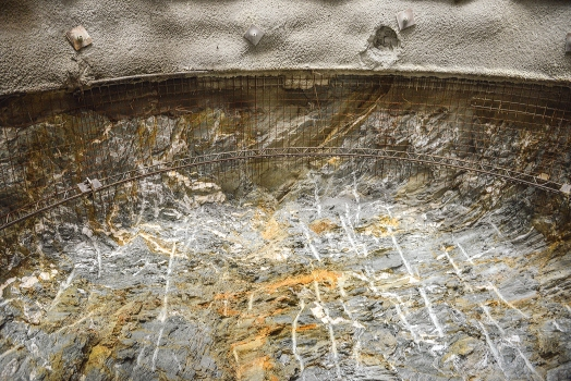 Rock strata at the end of the access gallery