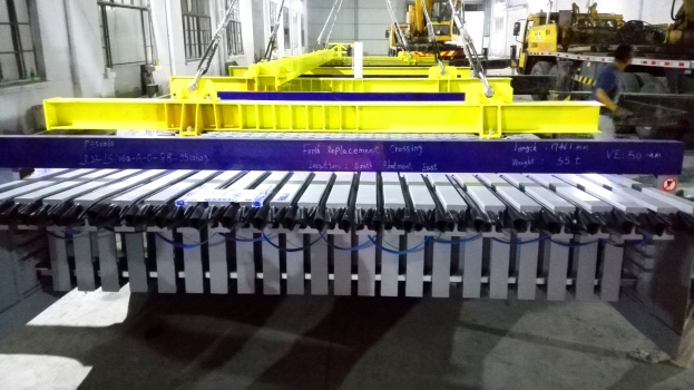 Expansion joints following manufacture, during loading onto trucks for transport to site