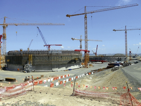 LNG tanks under construction on the premises of Australia Pacific LNG
