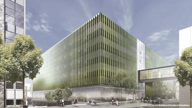 Ansicht des neuen CIO-Gebäudes auf dem Uniklinik-Campus in Köln (Visualisierung)