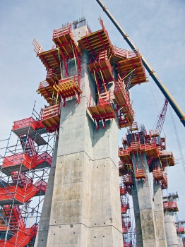 The columns were erected using an average of nine individual segments.