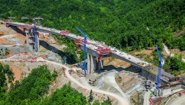 Through the mountainous region of western Northern Macedonia, the new motorway crosses a total of 14 viaducts. : Through the mountainous region of western Northern Macedonia, the new motorway crosses a total of 14 viaducts.