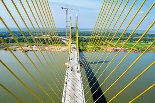 View of the span between the two H-shaped pylons