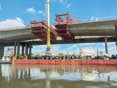 The new bridge over the Neches River is being built parallel to the existing structure.