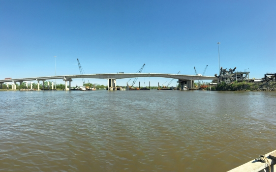 The new I-10 Neches River Bridge will add track capacity to the railway connection over the Neches River.