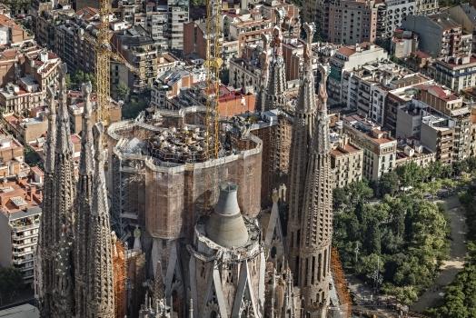 Construction in progress on top of La Sagrada Família