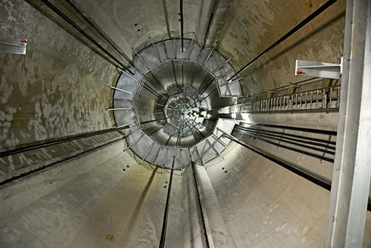 The interior of a wind tower: Six tendons, each 120 m long, were used per tower. : The interior of a wind tower: Six tendons, each 120 m long, were used per tower.