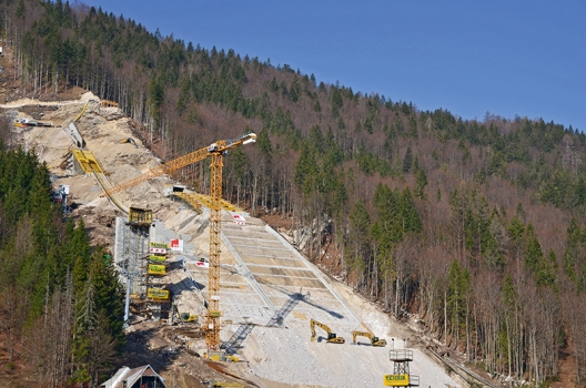 One of nine ski jumps of the Planica Nordic Center during construction