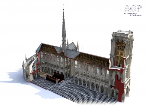 3D reconstruction model of Notre-Dame, made by Laurence Stefanon