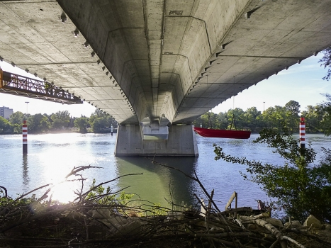 The bottom of one of the identical bridges