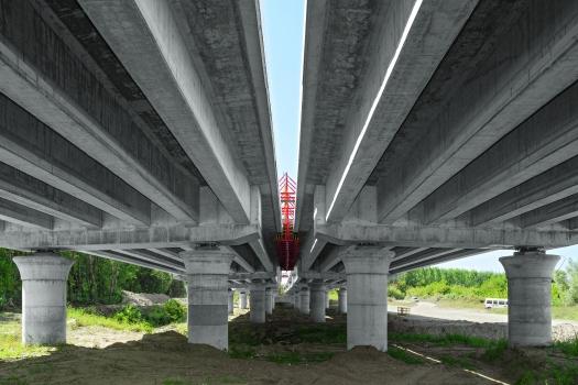 Die Fertigteilbalken der Vorlandbrücken lagern auf 180 cm starken Rundsäulen mit Pilzkopf – die dank speziell gefertigter Stahlschalungen von Peri beste Oberflächenergebnisse aufweisen