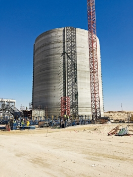 Four silos have been built for a new production facility of Qatar National Cement Company.