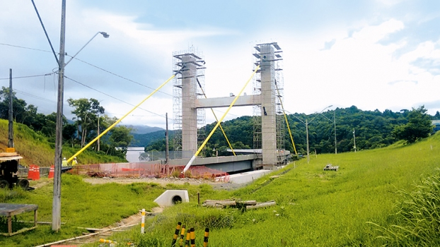 Each of the four stay cables is approximately 55 m long.