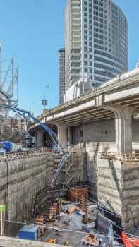 The South Tower with 31 levels above ground is being built on a small, triangular area near the entrance to the Rogers Arena. : The South Tower with 31 levels above ground is being built on a small, triangular area near the entrance to the Rogers Arena.