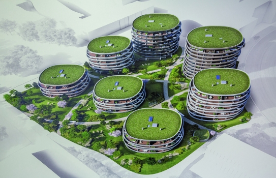 The circumferential, organically-shaped balconies give the residential park an extravagant look and offer extraordinary living comfort. : The circumferential, organically-shaped balconies give the residential park an extravagant look and offer extraordinary living comfort.