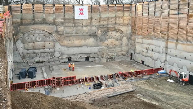 The vast part of the two tunnel tubes is advanced using the underground method. The open cut method is only used for the areas that will connect the tunnel to Prague Street and Neckartal Street.