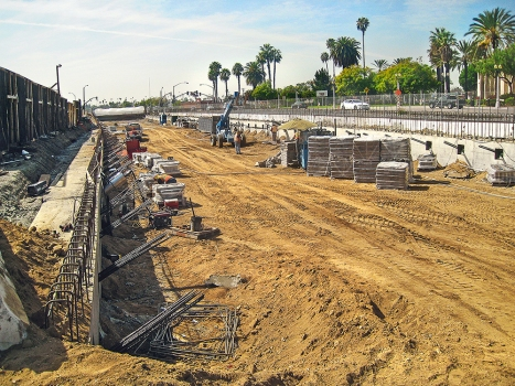 A trough structure is being built for the San Gabriel Trench using the open cut method.