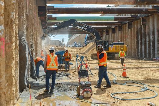 Für den San Gabriel Trench wird ein Trogbauwerk in offener Bauweise ausgeführt.