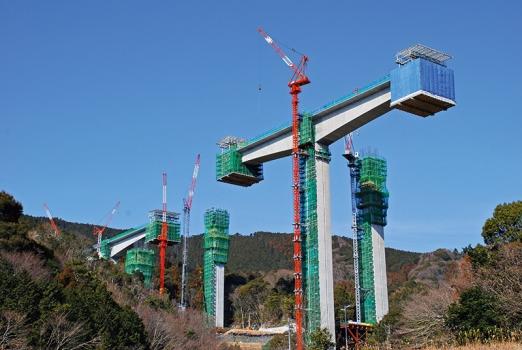 Up to 89 m high piers of Sanagawa Bridge