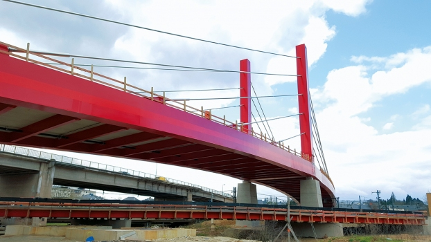 The Mersch cable-stayed bridge is 260 m long and consists of four spans