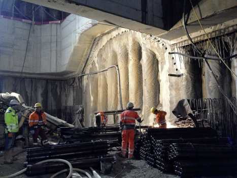 For tunnelling pre-support, a hollow bar system (in the foreground) has been used amongst others. : For tunnelling pre-support, a hollow bar system (in the foreground) has been used amongst others.