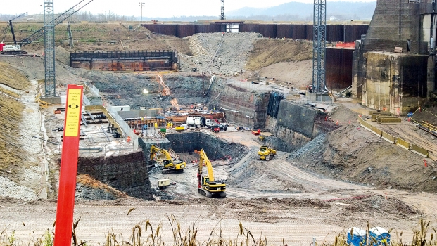 For the construction of the hydroelectric powerhouse, an approx. 30.5 m deep rock excavation had to be built. : For the construction of the hydroelectric powerhouse, an approx. 30.5 m deep rock excavation had to be built.
