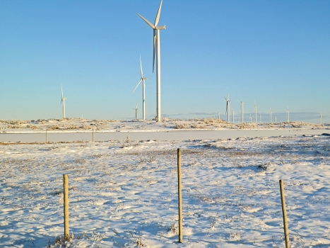 Blaiken Wind Park with wind turbines ready for use