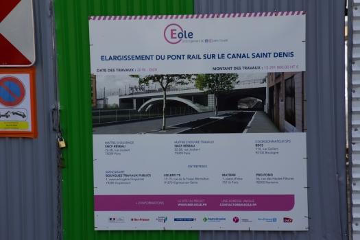 Pont ferroviaire sur le Canal Saint-Denis (RER E)