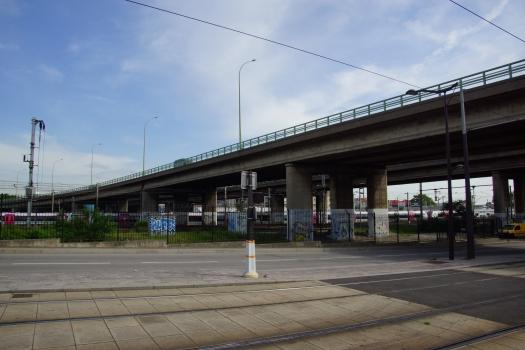 Paris Ring Road (Boulevard périphérique) - viaduct crossing the railroad at La Villette