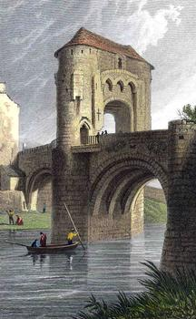 Monnow Bridge circa 1819. Engraving after a drawing by Henry Gastineau