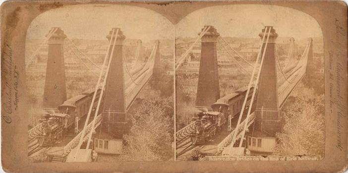 Erie Suspension Bridge  Stereo Image  C. Bierstadt, Publisher, Niagara Falls, NY  Sold only by Underwood & Underwood Baltimore, MD - Ottawa, Kas.