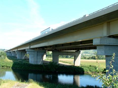 Autoroute A13 Viaducs de Criquebeuf Doublement et ouvrage initial Ensemble vu de l'aval en rive gauche