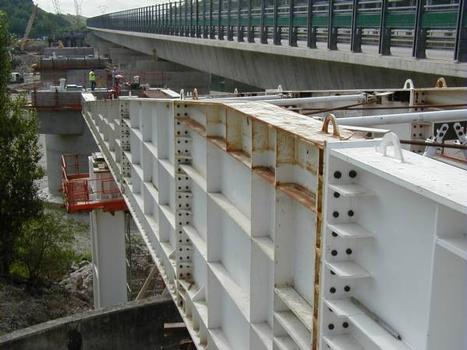 A432: Viaduc de Miribel-JonageAvant-bec et premières piles