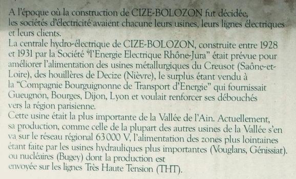 Barrage de Cize-Bolozon - Historique