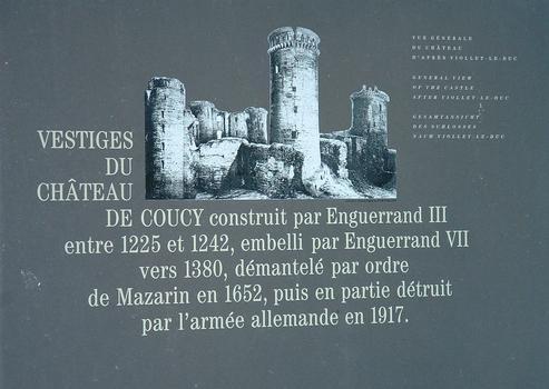 Coucy-le-Château - Château - Panneau d'information
