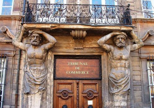 Aix-en-Provence - Hôtel Maurel de Pontevès - Porte, atlantes et balcon