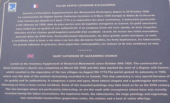 Le Cannet - Eglise Sainte-Catherine d'Alexandrie - Panneau d'information