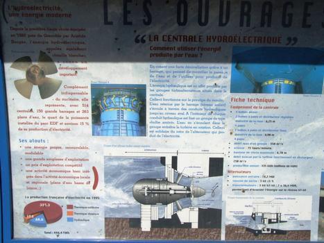Barrage, centrale hydroélectrique et écluse de Vaugris sur le Rhône - Panneau d'information sur la centrale hydroélectrique