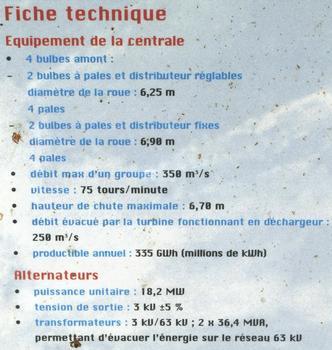 Barrage, centrale hydroélectrique et écluse de Vaugris sur le Rhône : Panneau d'information sur la centrale hydroélectrique - Fiche technique