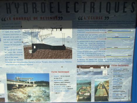 Barrage, centrale hydroélectrique et écluse de Vaugris sur le Rhône - Panneau d'information sur le barrage de retenue et l'écluse