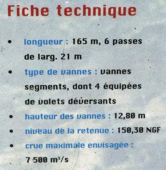 Barrage, centrale hydroélectrique et écluse de Vaugris sur le Rhône - Panneau d'information sur le barrage de retenue et l'écluse - Fiche technique du barrage de retenue