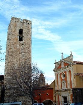 Façade de la cathédrale et tour de garde, Antibes