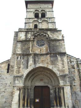 Cruas - Ancienne abbatiale bénédictine Sainte-Marie - Portail occidental et clocher