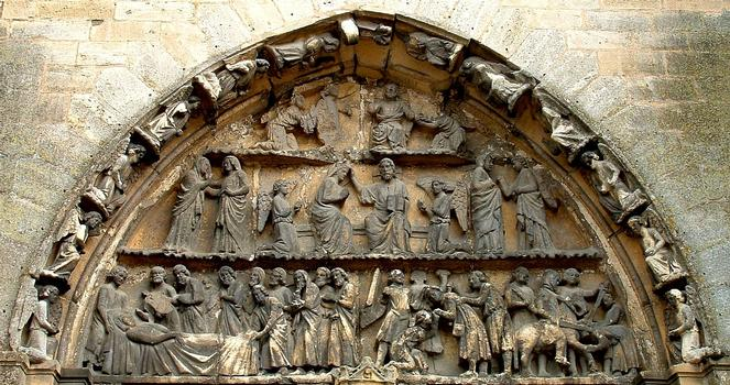 Mouzon - Abbaye Notre-Dame - Abbatiale - Portail - Tympan de la vie de la Vierge