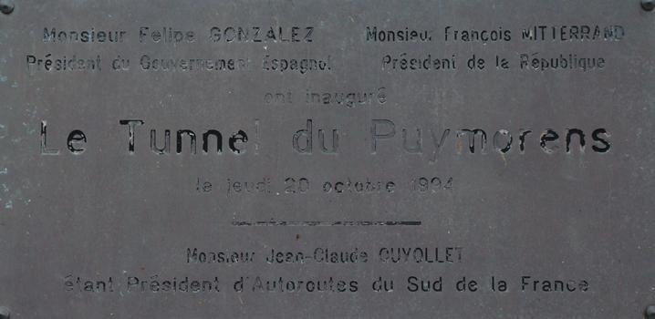 Tunnel de Puymorens - Entrée nord - Plaque commémorative pour l'inauguration du tunnel le 20 octobre 1994