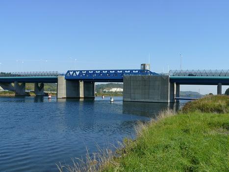 Autoroute A29 - Pont sur le canal de Tancarville - Le pont-levant et les viaducs d'accès