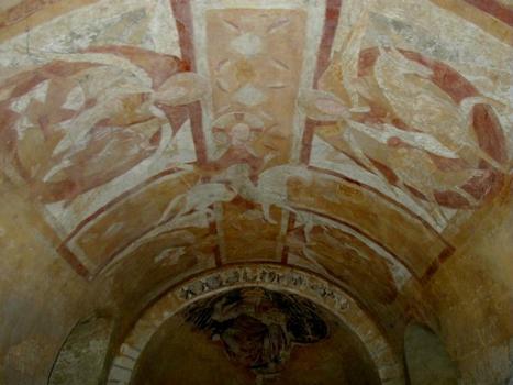 Cathédrale Saint-Etienne à Auxerre.Crypte romane - Fresque - Ensemble