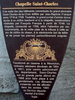 Avignon - Chapelle Saint-Charles-de-la-Croix (ancien séminaire), rue Saint-Charles - Panneau d'information
